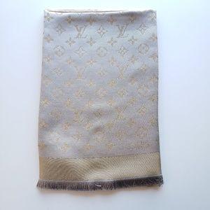 Louis Vuitton Wool Greige Shine Silk Scarf M75121